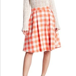 Coral Plaid Skirt by Jealous Tomato